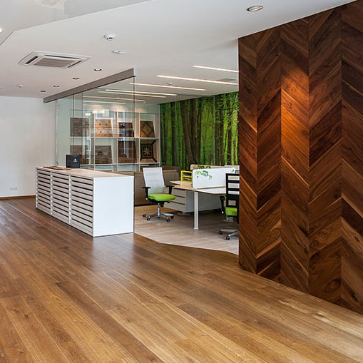 Custom, handmade wood flooring showroom