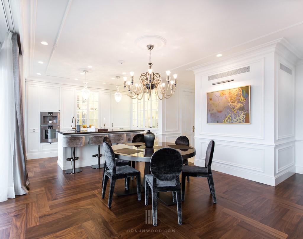 Custom made luxury walnut flooring