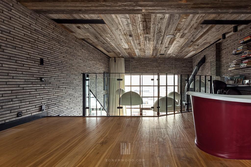 Custom, Hand-scraped oak flooring