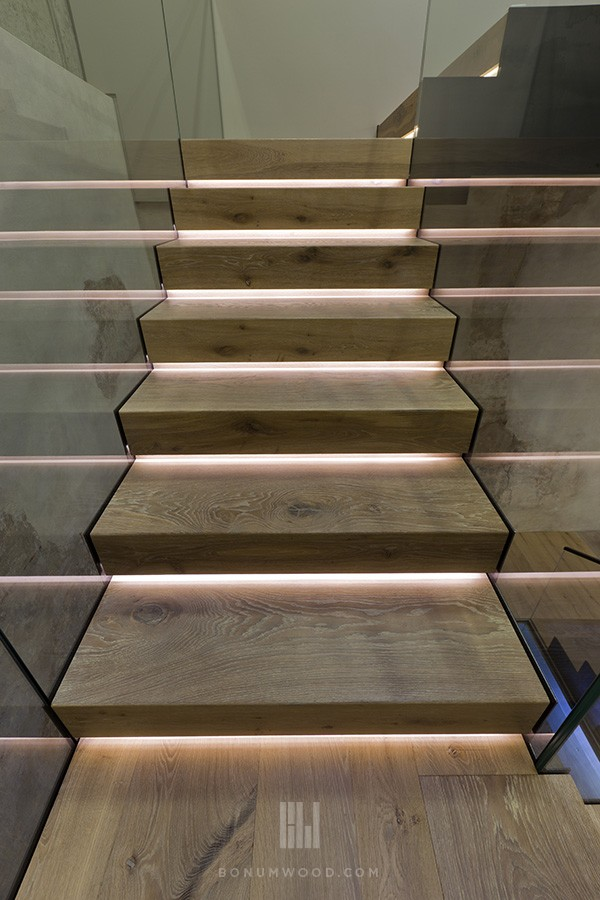 White oak custom flooring and stairs
