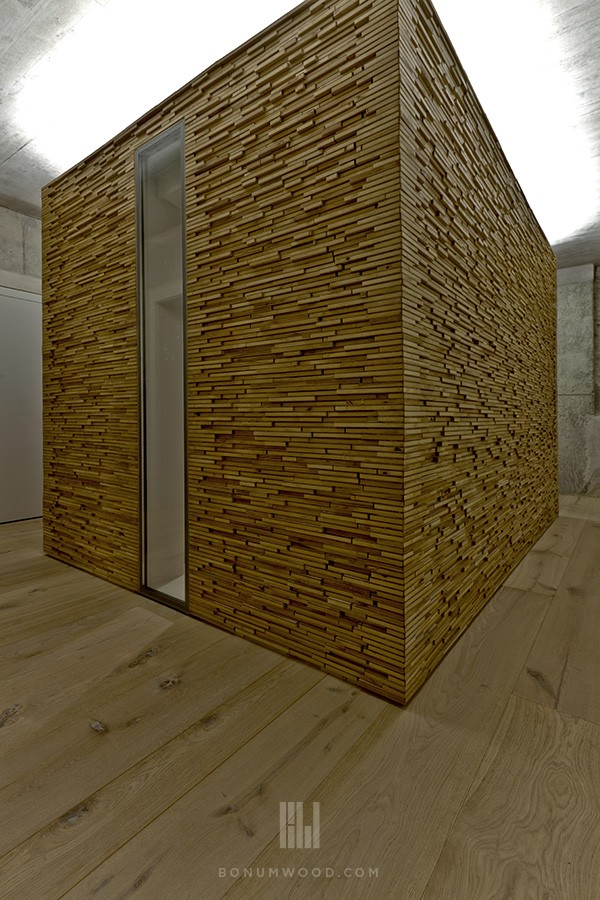 White oak custom flooring and wall panel