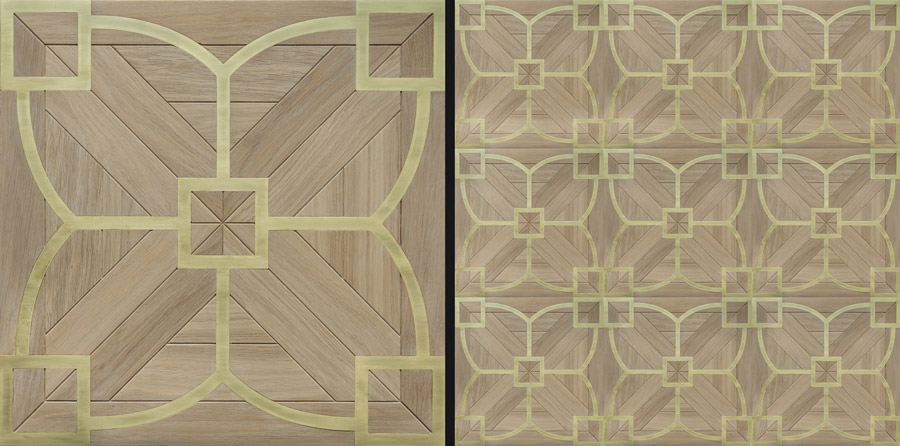 Custom parquetry with brass