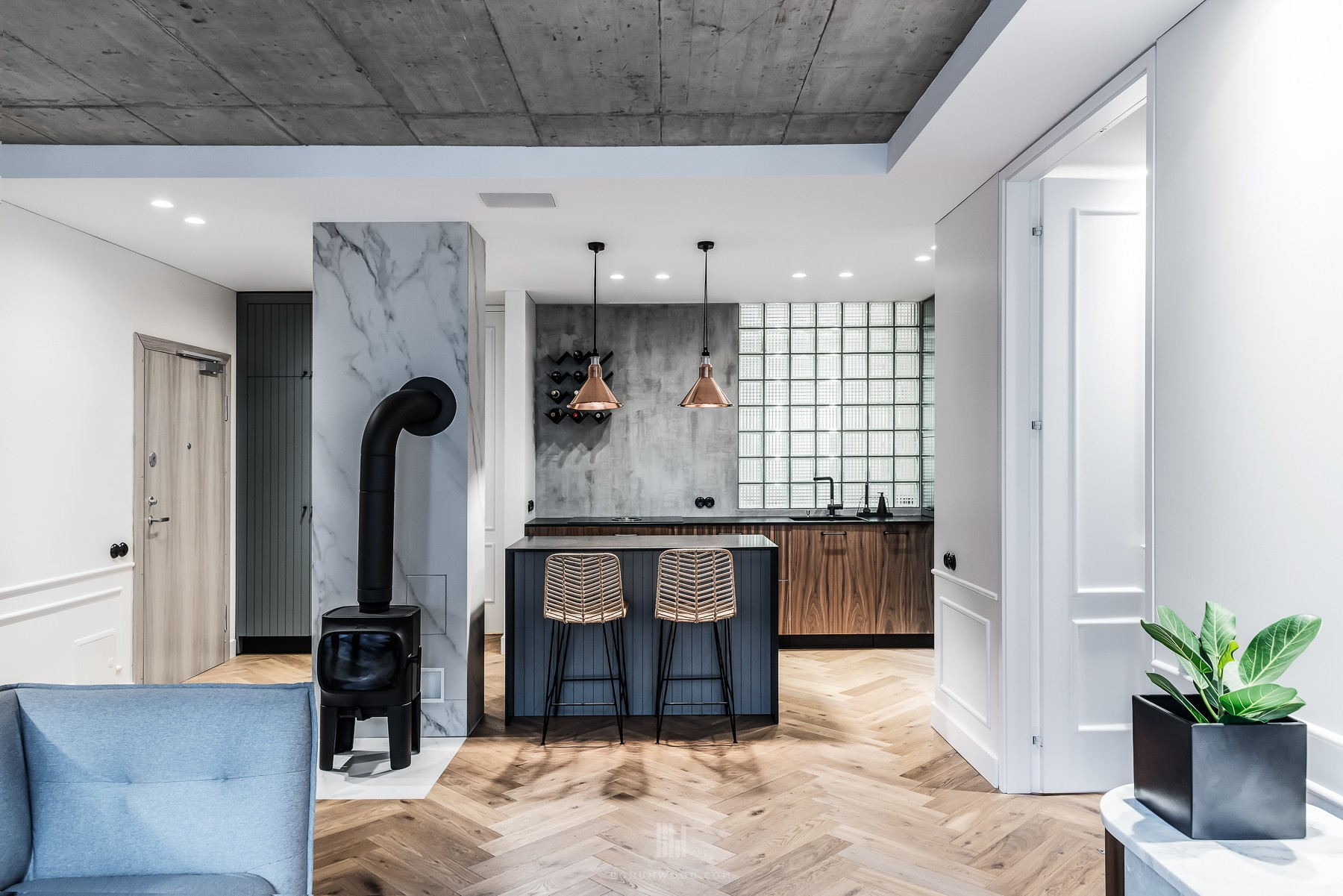 Loft apartment, herringbone parquet