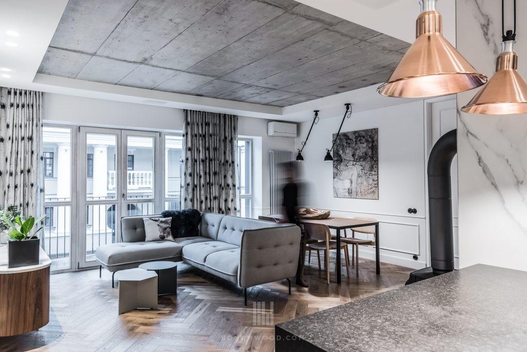 modern loft apartment with hardwood parquet
